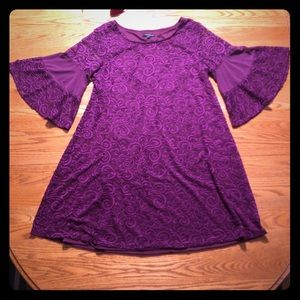 Lane Bryant purple lace dress with bell sleeves
